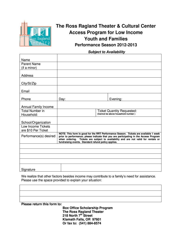 Get And Sign Access Program Form Ross Ragland Theater Rrtheater 2012-2021