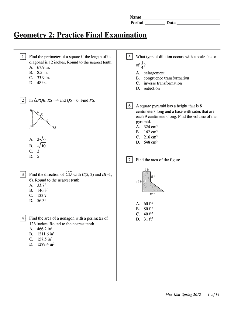 Get And Sign Geo 2 Practice Final Exam Spring pdf  Mrs Kim's Geometry 2012-2021 Form