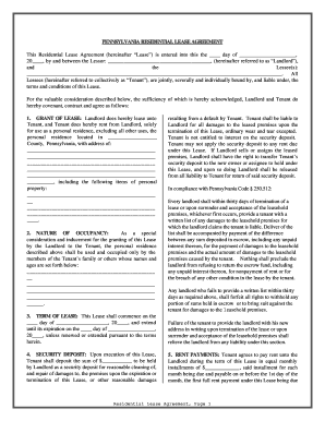 Pennsylvania Residential Rental Lease Agreement Form Fill
