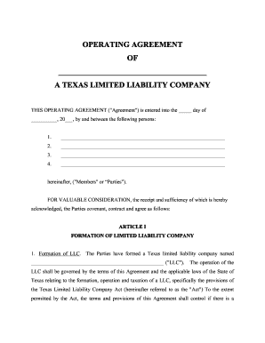 picture about Printable Company Limited named Texas llc business settlement sort - Fill Out and Signal