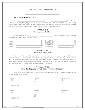 Last Will And Testament California Fill Out And Sign