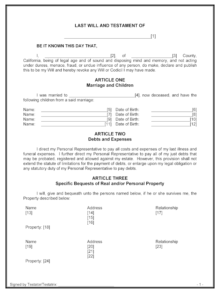 Last Will And Testament California Fill Out And Sign Printable