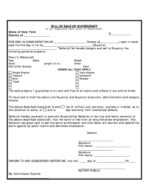 image relating to Printable Boat Bill of Sale named Boat monthly bill of sale ny type - Fill Out and Indicator Printable PDF