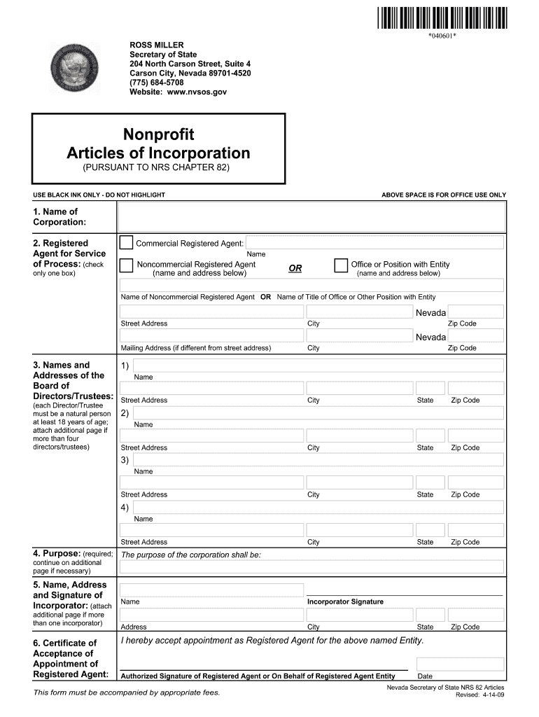 Articles Of Incorporation Nevada Fill Out And Sign Printable Pdf Template Signnow