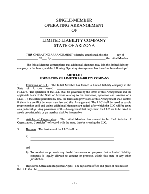 Get And Sign Llc Operating Agreement Arizona Form