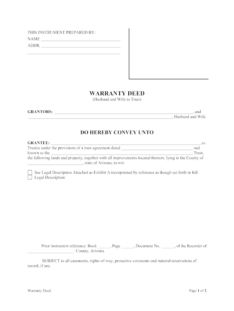 Warranty Deed Arizona Fill Out And Sign Printable Pdf Template Signnow