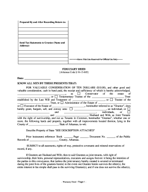 picture relating to Printable Warranty Deed called Arkansas Assure Deed for Fiduciary style - Fill Out and
