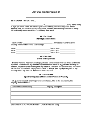 photograph regarding Printable Last Will and Testament known as Very last will and testomony type idaho - Fill Out and Indicator