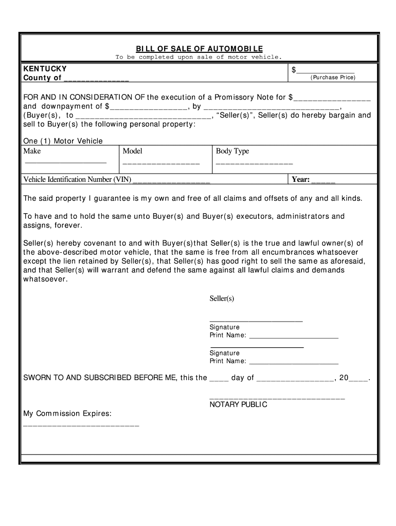 Get And Sign Ky Bill Of Sale Form