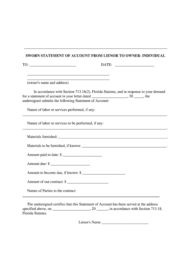 Get And Sign Florida Lienor Statement Pdf Form