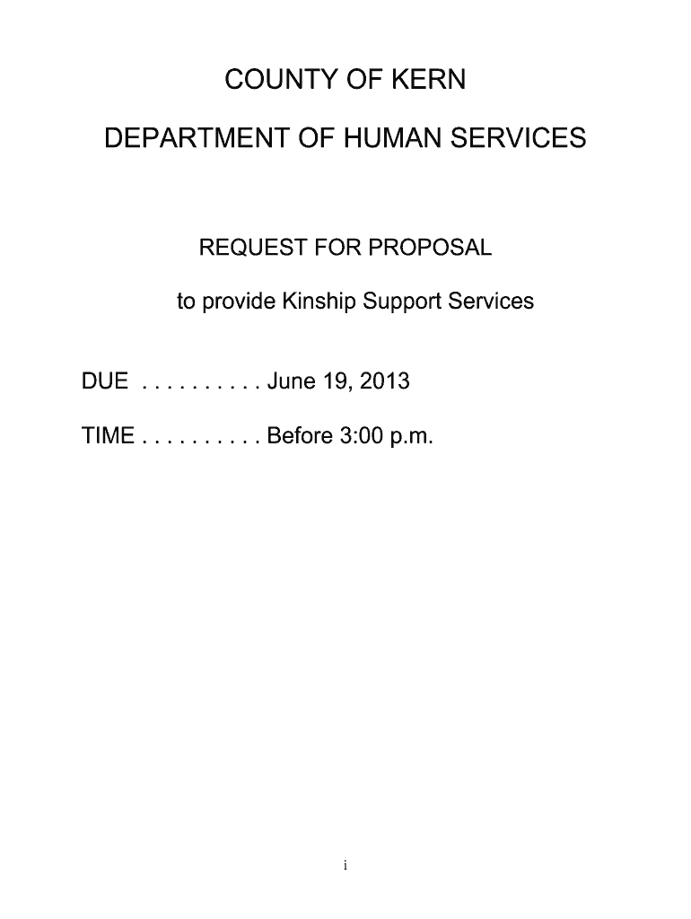 Get And Sign RFP  Kinship Support Services  County Of Kern  Co Kern Ca 2013-2021 Form