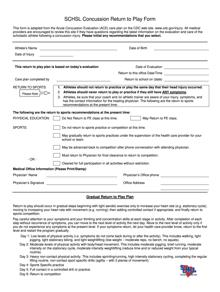 Concussion Form Fill Out And Sign Printable Pdf Template Signnow