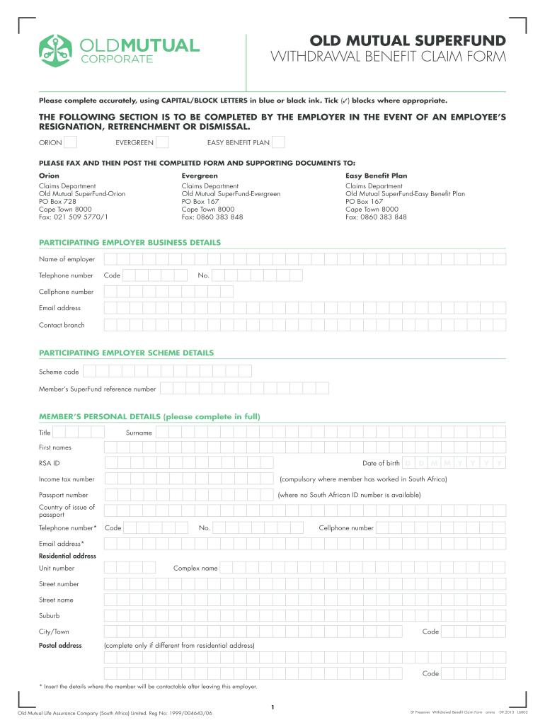 Get And Sign Old Mutual Provident Fund Claim 2013-2021 Form
