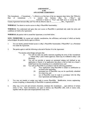 Get And Sign Ebay Placeoffer Api License Agreement Addendum Form
