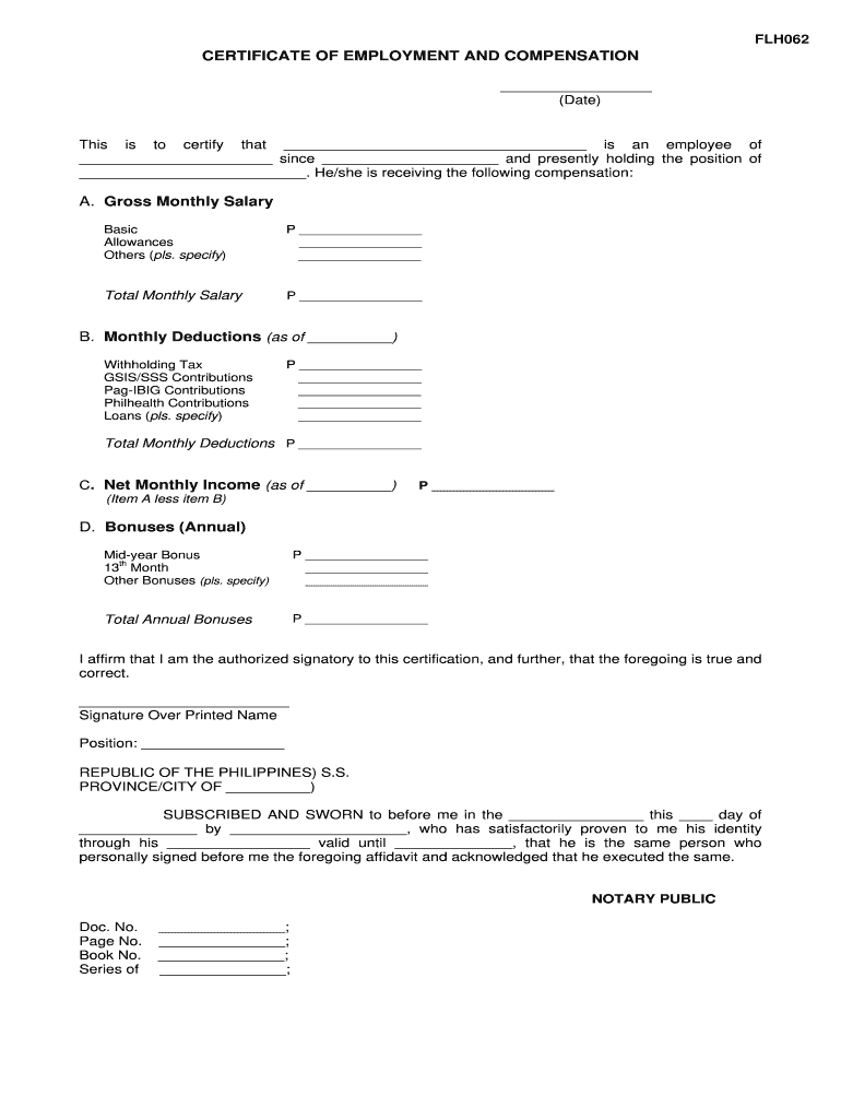 Get And Sign Certificate Of Employment With Compensation Form