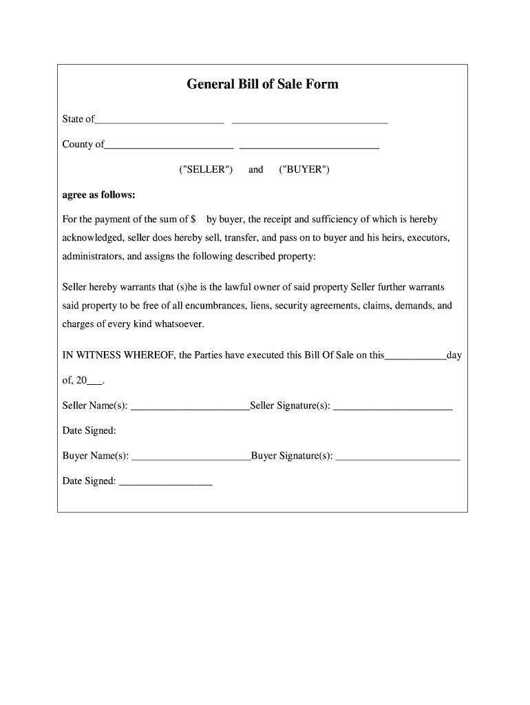 Bill Of Sale Pdf Fill Out And Sign Printable Pdf Template Signnow