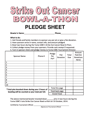 Get And Sign Bowl A Thon Pledge Sheet 2014-2021 Form