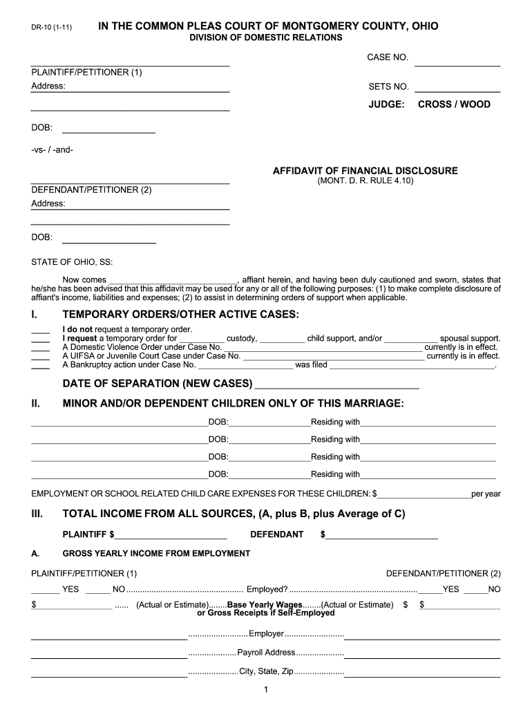 Get And Sign Ohio Affidavit Financial 2011-2021 Form