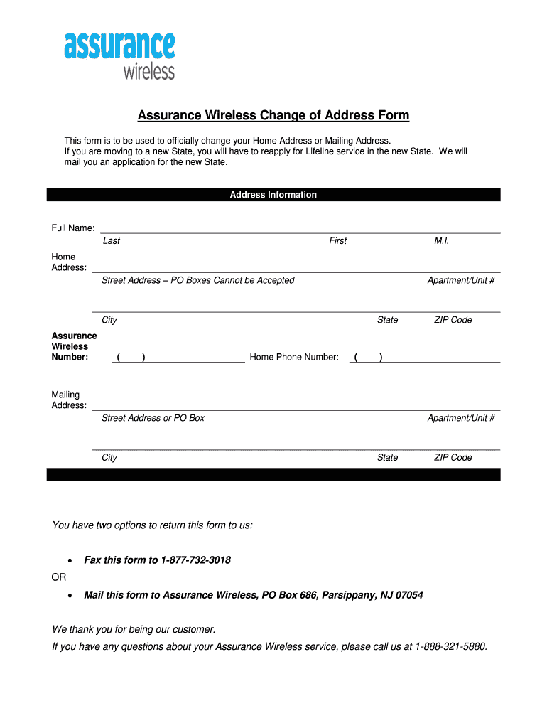 Wireless Change Address Fill Out And Sign Printable Pdf Template