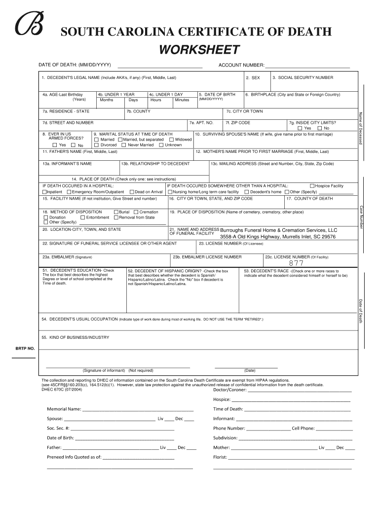 Blank Death Certificate Picture Form - Fill Out and Sign Printable For Fake Death Certificate Template