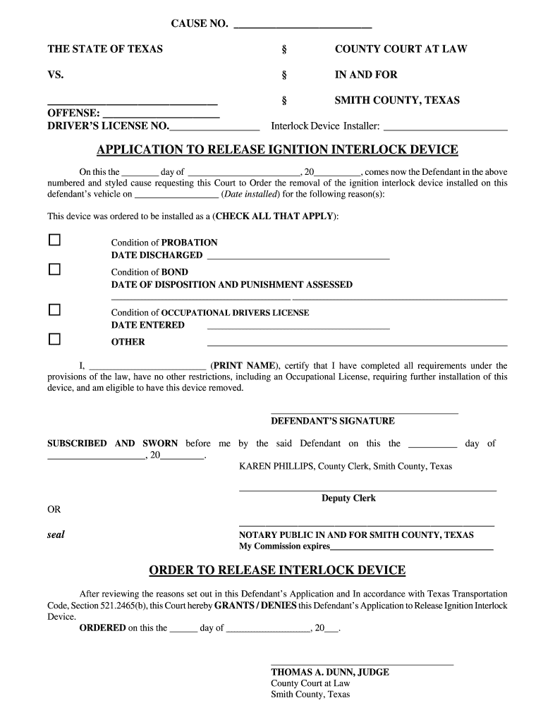 Application To Release Ignition Interlock Device Smith