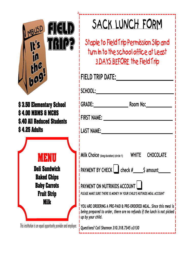 school lunch order form template