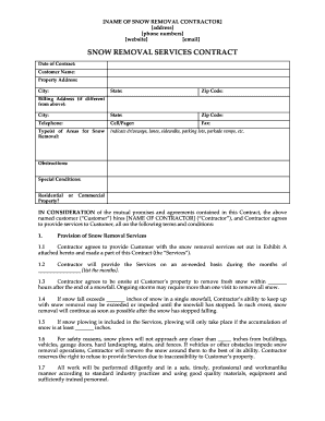 Get And Sign Snow Removal Contract Form