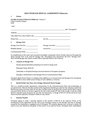 Oregon Rental Agreement Form Fill Out And Sign Printable