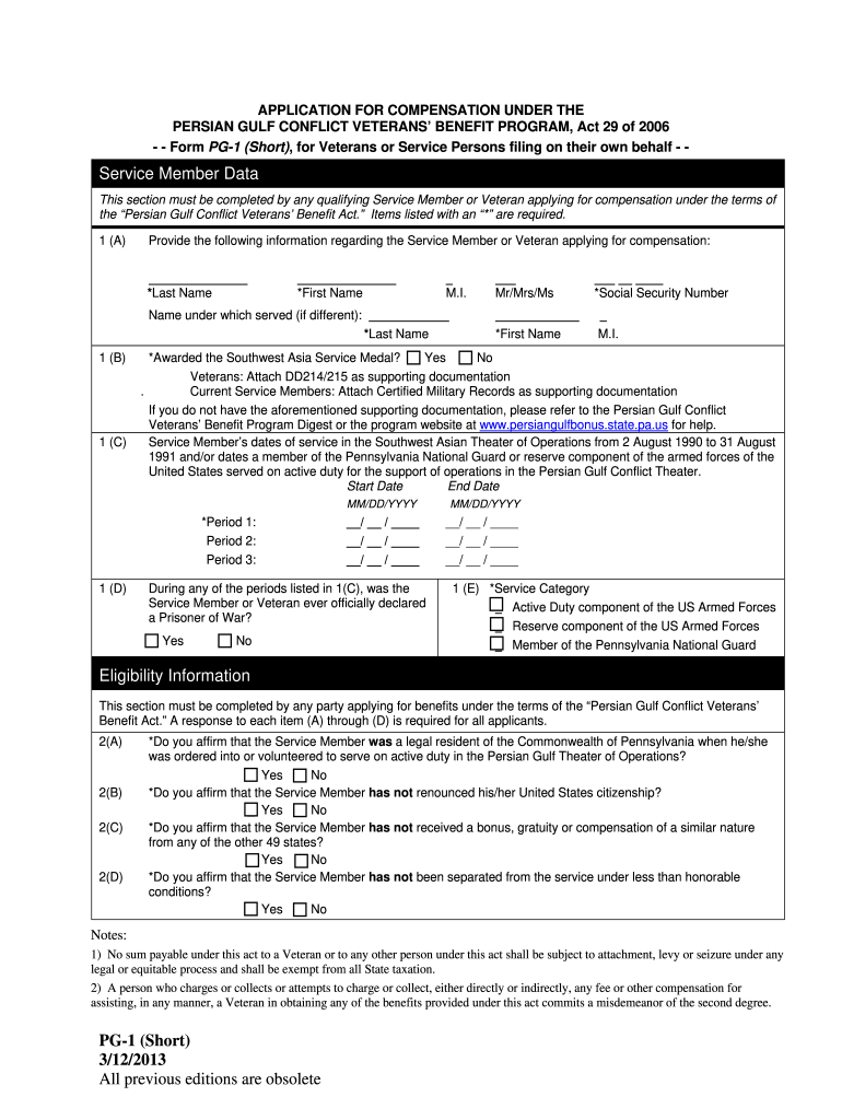 Get And Sign PG 1 Short  Pennsylvania Department Of Military And Veterans    Milvet State Pa Form