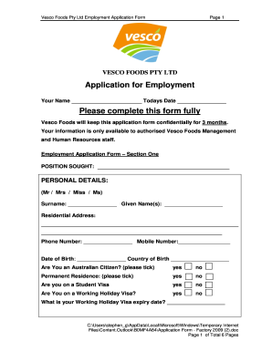 BApplicationb for Employment Please complete this bb - Vesco