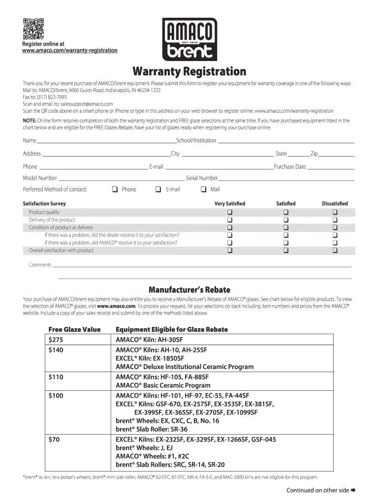 Get And Sign Amaco Warranty 2013-2021 Form