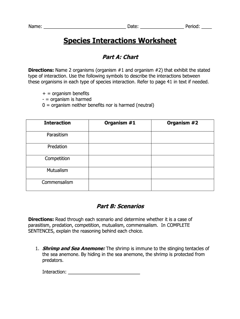 Get And Sign Species Interactions Worksheet Answers Form