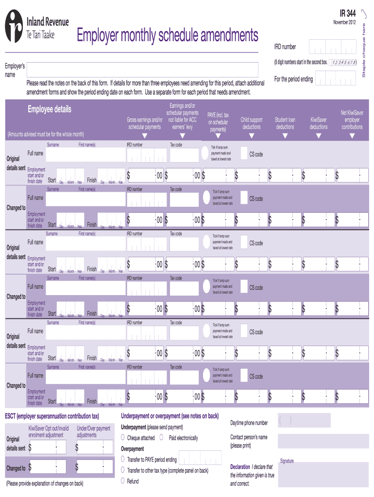 Get And Sign IR 344 Employer Monthly Schedule Amendments Rgmaccountants Co 2012-2021 Form