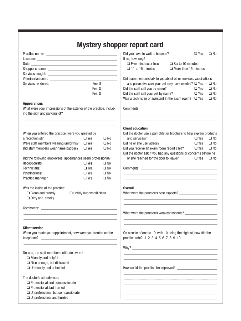 Get And Sign Mystery Shopper Report Card Dvm360com Form