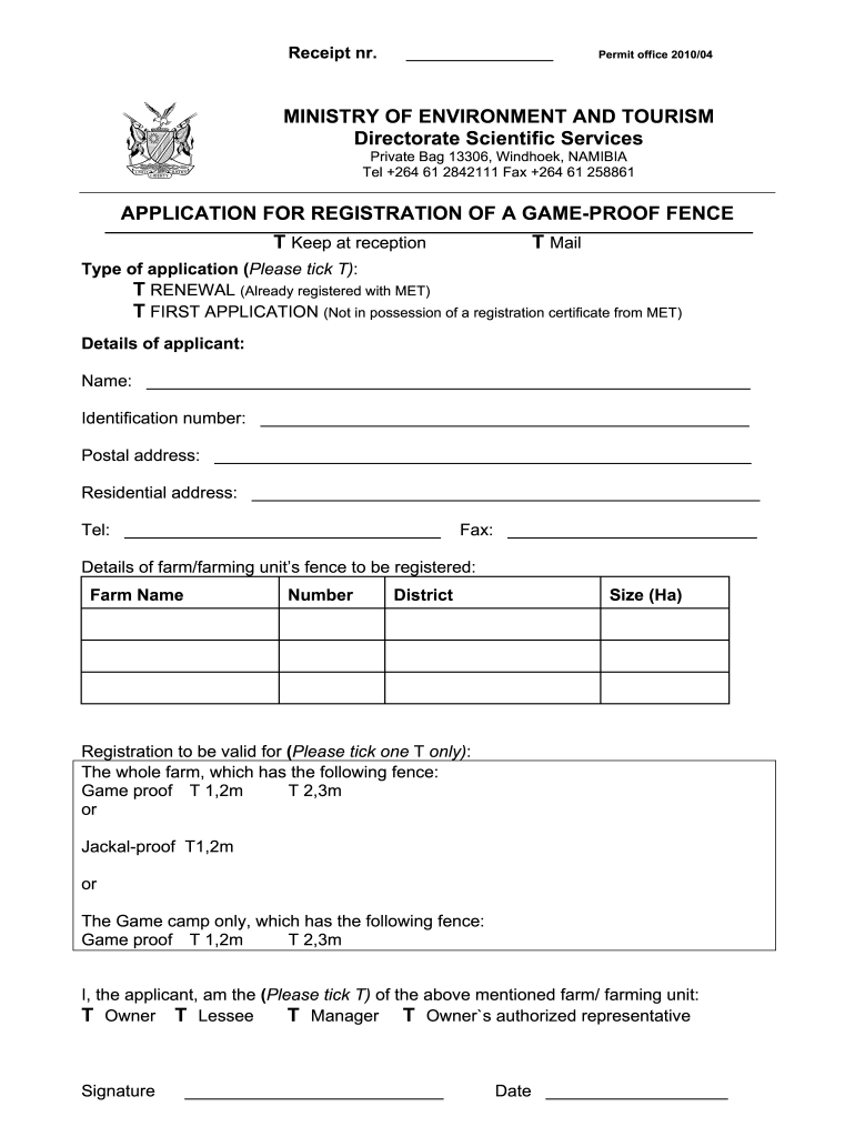 Get And Sign Game Proof Fence Registration Bapplicationb  Ministry Of Environment Bb 2010-2021 Form