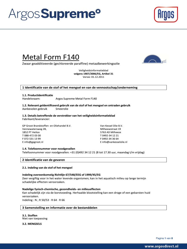 Get And Sign MSDS Metal Form F 140  Argosdirect 2011-2021