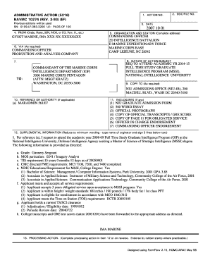 Navmc 10274 administrative action - Headquarters Marine Corps form