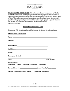 Law Firm Client Intake Form Fill Out And Sign Printable