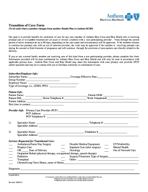Transition of Care Form - Anthem - Fill Out and Sign