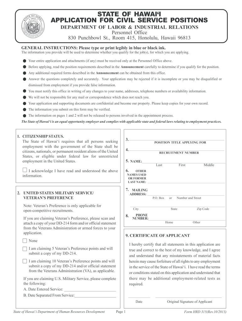 Get And Sign Hrd 315a 2013-2021 Form