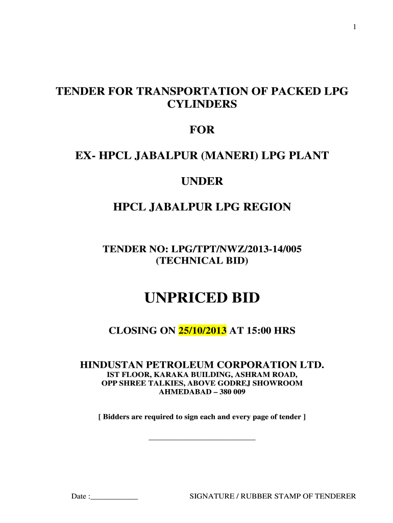 Get And Sign UNPRICED BIDBJabalpurpdf Hindustan Petroleum Corporation Bb 2013-2021 Form