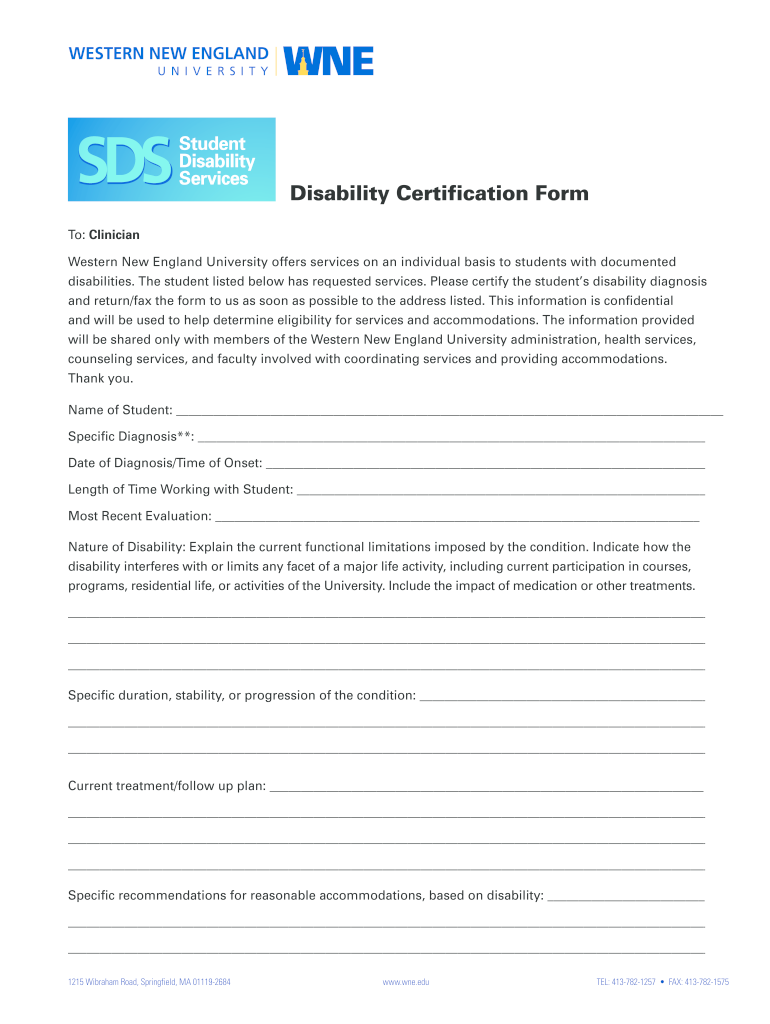 Get And Sign Disability Certification Form  Western New England University  Assets Wne