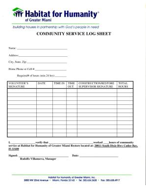image regarding Community Service Log Sheet Printable called Area Services LOG SHEET - Habitat for Humanity of sort
