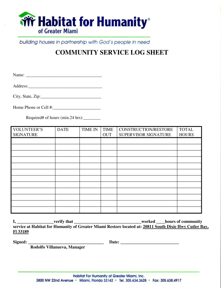 Volunteer Log Sheet With Signature Fill Out And Sign Printable
