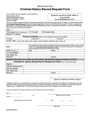 Get And Sign Criminal History BRecordb Request BFormb - Nebraska State Patrol - Statepatrol Nebraska