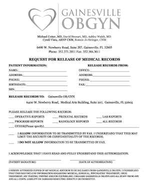 Medical Records Request Form - Gainesville OBGYN - Fill Out