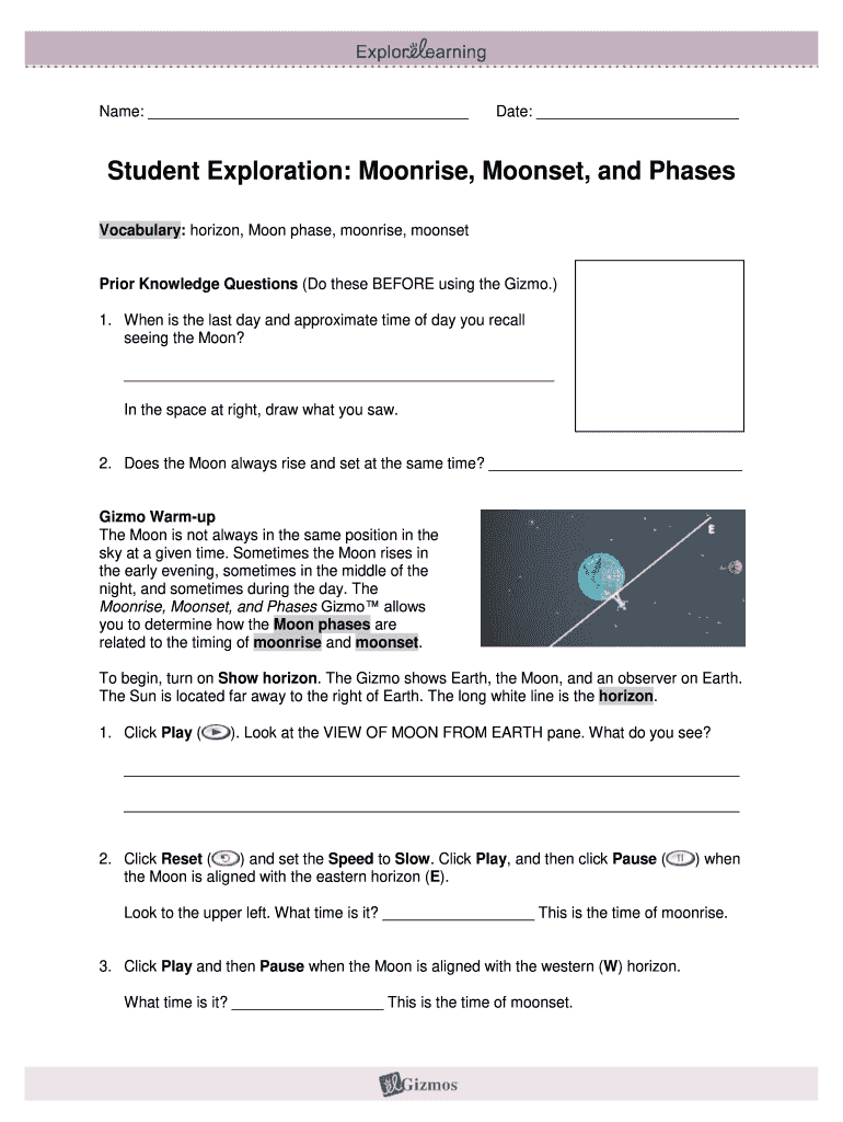 Phases Of The Moon Gizmo Answer Key Pdf - Fill Out and ...