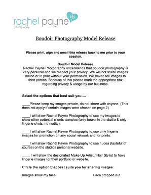 Boudoir Model Release Form - Rachel Payne Photography - Fill