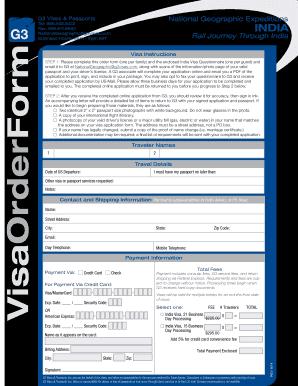 Visa Order Form - G3 Visas & Passports - Fill Out and Sign Printable