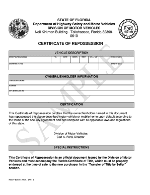 CERTIFICATE OF REPOSSESSION form - Fill Out and Sign